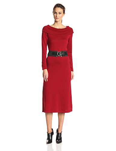 Danny & Nicole Women's Cowl-Neck Sweater Dress,Red,Large