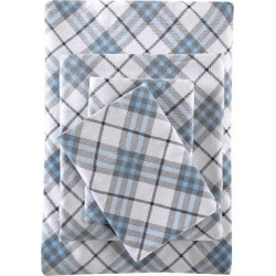 Inverness Angle Flannel Sheet Set (Queen) Blue