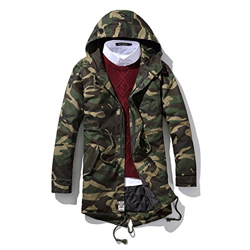 SITENG Men Winter Casual Camouflage Padded Cotton Parka Outwear Coats Jackets(US L,Camouflage)