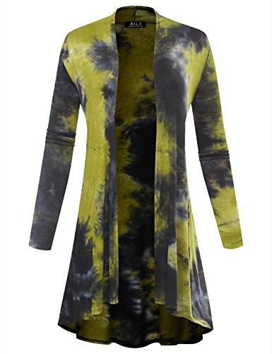 BIADANI Women Long Sleeve Classic Lightweight Open Front Jersey Cardigan Tie-Dye Green XX-Large