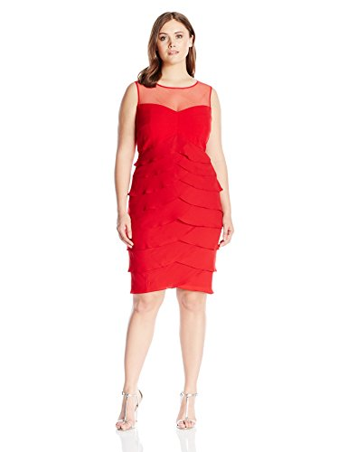 London Times Women's Plus Size Sleeveless Round Neck Silky Georgette Sheath Dress, Red, 18W