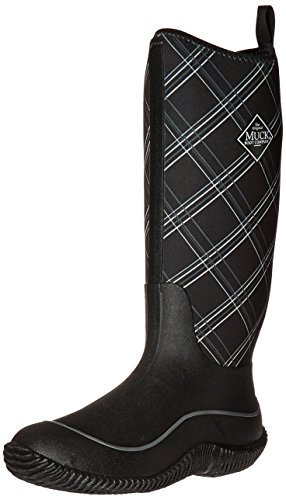 Muck Boots Hale Multi-Season Women's Rubber Boot, Black/Gray Plaid, 6 M US