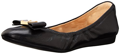 Cole Haan Women's TALI Bow Ballet Flat, Black Leather, 8 B US