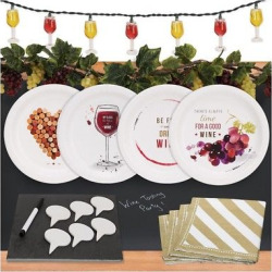 32ct Wine Party Appetizer Pack with Chalkboard Runner Cheese Board & Décor
