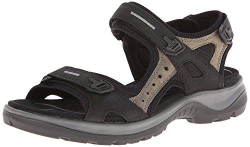 ECCO Women's Yucatan Sandal, Black/Mole/Black, 39 EU / 8-8.5 M US