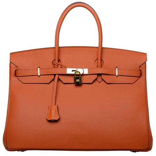 Cherish Kiss 40cm Oversized Padlock Business Office Top Handle Handbags (40cm with Gold Hardware, Orange A)