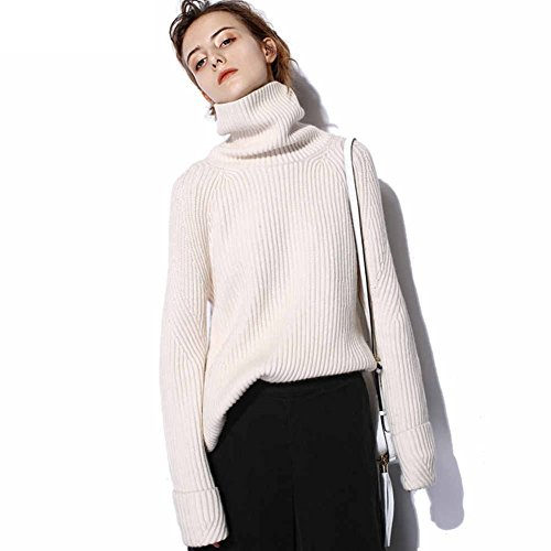 Sweaters for Women Winter Sweater Tunic Long Sleeve Cashmere Loose Turtleneck Over Sized Chunky Sweater (White, M)