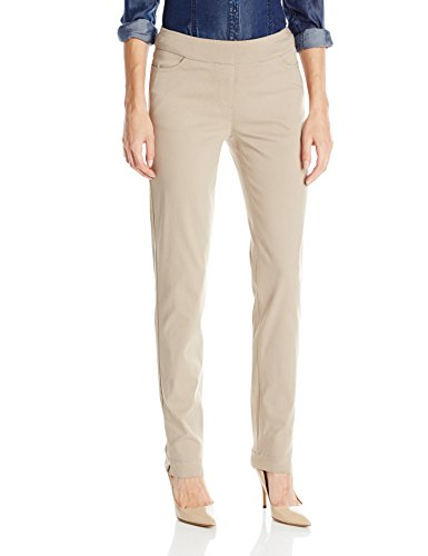 SLIM-SATION Women's Wide Band Regular Pull-On Straight Leg Pant with Pockets, Stone, 16