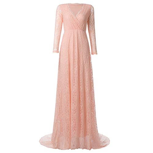 Maternity Fitted Gown Cross-Front V Neck Ruched Long Sleeve Vintage Lace Maxi Photography Dress Prom Evening Cocktail Party Z# Coral Pink M