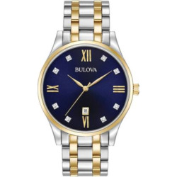 Bulova Men's Classic Diamond Two Tone Stainless Steel Watch – 98D130, multicolor