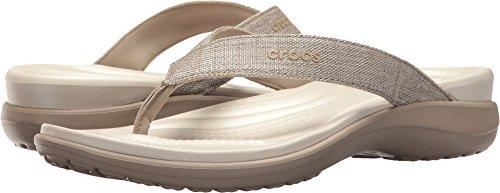 Crocs Women's Capri V Shimmer Flip Flop, Cobblestone, 9 M US