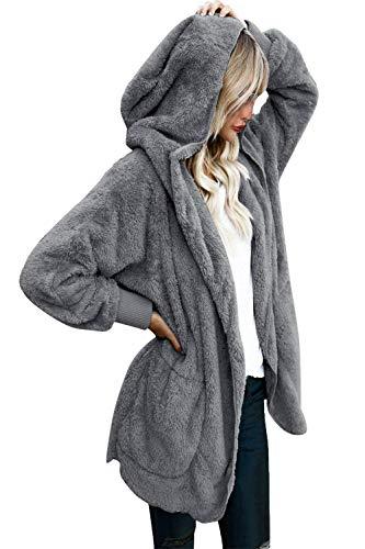Yanekop Womens Winter Open Front Loose Hooded Fleece Sherpa Jacket Cardigan Coat(Dark Grey,2XL)