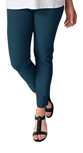 Eileen Fisher Washable Stretch Crepe Slim Ankle Pant w/Yoke Waistband (L, Dark Jewel)