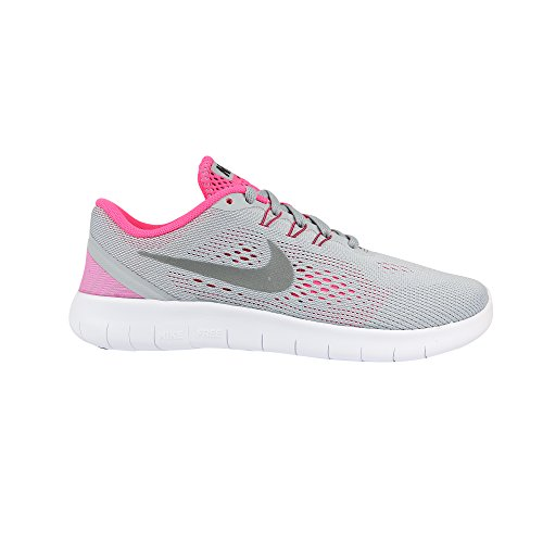 Nike Kids Free RN Big Kid Wolf Grey/White/Black/Metallic Silver Girls Shoes