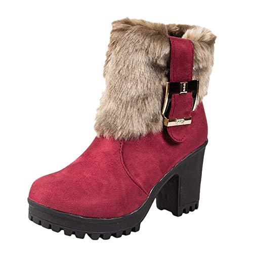 Women Warm Boot,kaifongfu Short Tube Thick Plush Martin Boots Shoes(Wine,US:7.5)