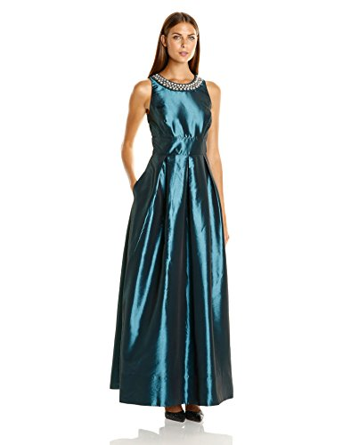 Sangria Women's Pearl Necklace Detail Ball Gown, Teal, 16