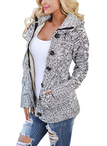 Sidefeel Women Hooded Knit Cardigans Button Cable Sweater Coat Small Grey