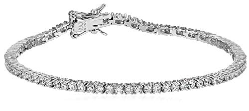 Amazon Essentials Platinum Plated Sterling Silver Round Cut Cubic Zirconia Tennis Bracelet (2mm), 7″