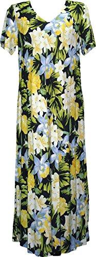 RJC Womens Hawaiian Jungle Flower V Neck Evening Dress Blue Orchid 1X Plus