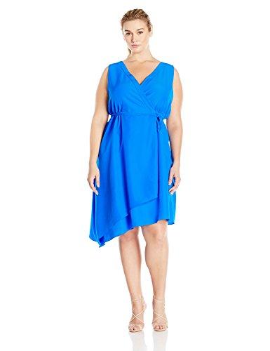 Donna Ricco Women's Plus-Size Sleeveless V-Neck Uneven-Hem Dress with Belt, Hot Cobalt, 18W