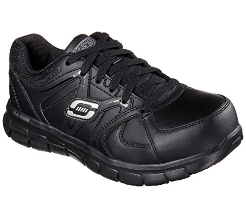 Skechers for Work Women's Synergy Sandlot Alloy Toe Lace-Up Work Shoe,Black,10