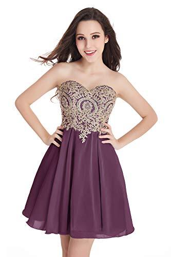 Babyonlinedress Women's Bateau Neck Lace Beading Pockets Short Wedding Gown Bridal Dress(Mauve,2)