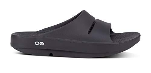 OOFOS Unisex Ooahh Slide Sandal,Black,10 B(M) US Women / 8 D(M) US Men