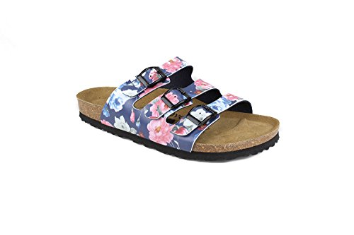 JOE N JOYCE Women Paris Soft-Footbed Regular Rose SynSoft Sandals Slippers Blue Size EU 40 – US W9/M7