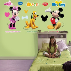 Fathead Disney Mickey, Minnie and Pluto Wall Decals, Multicolor