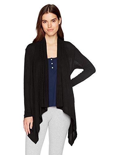 Splendid Women's Long Sleeve Cardigan Sweater Wrap Coverup Pajama Pj, Black, M