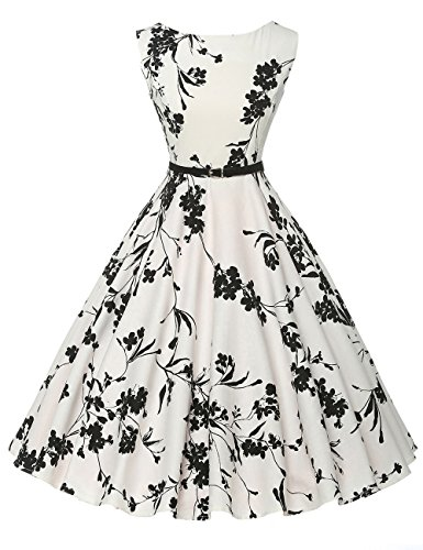GRACE KARIN 50's Vintage Pin-up Dresses Fit and Flare Sleeveless Size M F-11