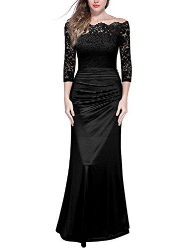 Miusol Women's Retro Off Shouler Floral Lace Ruched Bridesmaid Maxi Dress,G-black,Medium