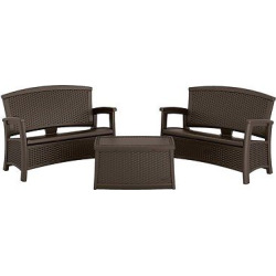 Suncast Elements 3-Piece Resin Loveseat Patio Set with Storage, Brown