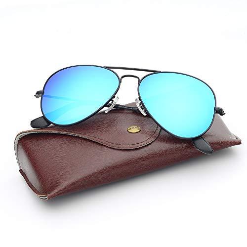 Bnus corning natural glass lenses Titanium frame aviator sunglasses for men women italy made (Matte Black/Blue Flash Polarized, Titanium Frame)