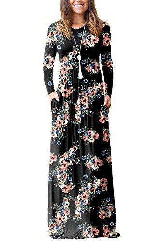 ESONLAR Womens Plus Size Floral Printed Maxi Dress Ladies Elegant Crewneck Modest Fall Casual Long Winter Dresses Black XX-Large