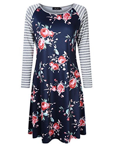 AMZ PLUS Plus Size Women Bracelet Sleeve Striped Floral Print Casual Mini Shift T-Shirt Dress Deep Royal Blue 2XL