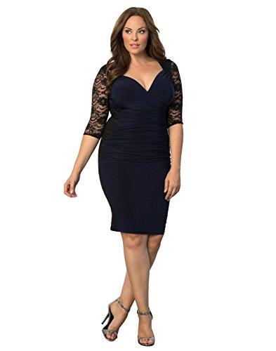 Kiyonna Women's Plus Size Valentina Illusion Dress 0X Black/Navy