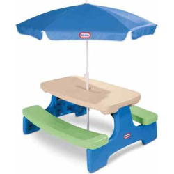 Outdoor Little Tikes Easy Store Picnic Table with Umbrella, Clrs