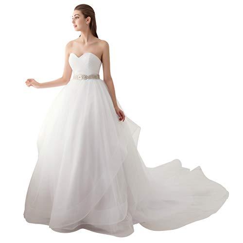 Ubridal Sweetheart Ball Gown Beading Sash Ruffles Tulle Wedding Dress Bridal Gown White 8