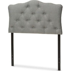 Rita Modern And Contemporary Fabric Upholstered Button – Tufted Scalloped Headboard – Twin – Gray – Baxton Studio