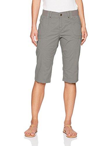 LEE Women's Petite Relaxed Fit Lyric Knit Waist Cargo Capri Pant, Green/Gray, 4