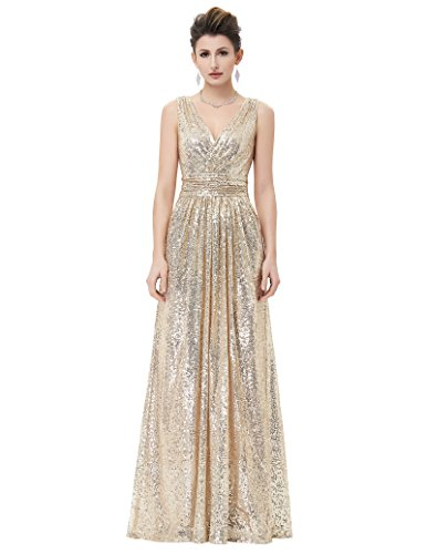 Kate Kasin Plus Size Long Sequined Bridesmaid Dress for Women Evening Party V-Neck Gold USA18 KK199-1