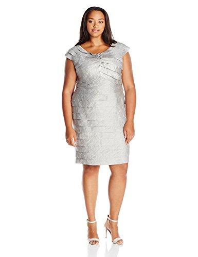 London Times Women's Plus Size Sheath Dress w. Beaded Detail & Portrait Collar, Steel, 14W