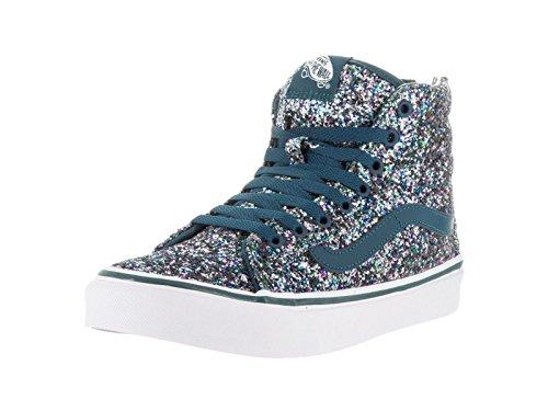 Vans Sk8 Hi Slim Zip Womens Size 5 Chunky Glitter Atlantic Deep Blue Skateboarding Shoes