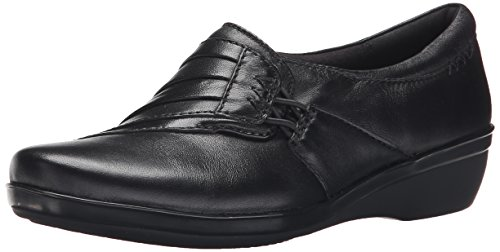 CLARKS Women's Everlay Iris, Black Leather, 8.5 M US
