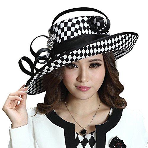 June's Young Ladies Satin Dress Hat Church Hat Formal Hat for Women Black Hat (Black White Color)
