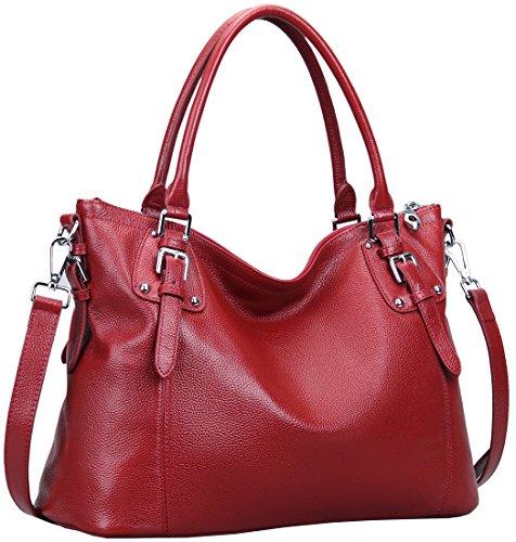 Heshe Womens Genuinne Leather Handbags Tote Top Handle Bag Shoulder Bag for Women Crossbody Bags Ladies Designer Purse (LWine)