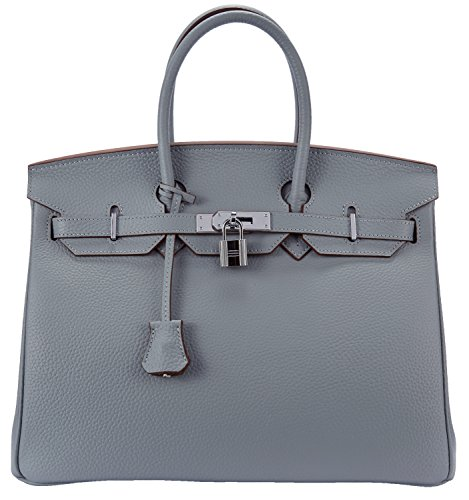 Cherish Kiss Women's Padlock Handbag Genuine Leather Top Handle Bag with Silver Hardware (30CM Silver Light Blue)