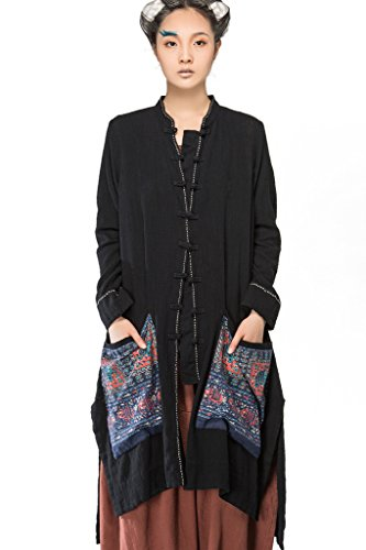 Jiqiuguer Women Casual Ethnic Style Long Sleeve Shirt Blouse Comfy Soft Cardigan