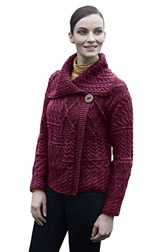 Muckross Button Aran Cardigan (X-Large, Heather)